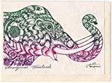 Rare Unique Vintage Asian Oriental Thai Traditional Art Mulberry Paper Values Handmade Postcards To Colour Design Abstract Elephant Head By Thailand