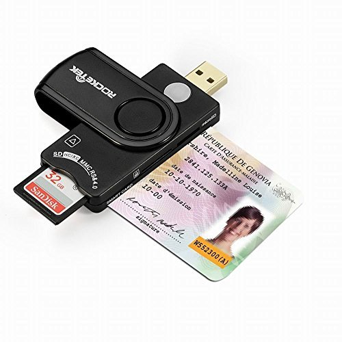Rocketek CAC Card Reader e lettore di schede di memoria USB DOD di concezzione militare per l'accesso intelligente, compatibile con Windows (32 / 64bit) XP / Vista / 7/8/10, Mac OS X