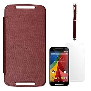 DMG Hot Pressed Back Replace Flip Cover Case For Motorola Moto G 2nd Gen (Red) + Laser Torch Stylus Pen + Matte Screen