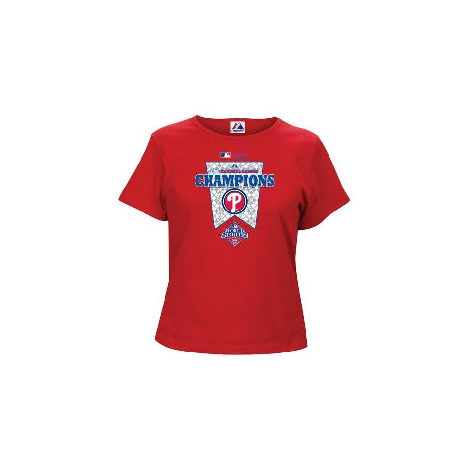 Majestic Philadelphia Phillies Red Ladies 2008 MLB National League Champions Official Locker Room T shirt