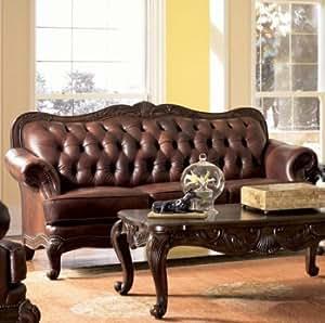 Amazon Com Coaster Victoria Tri Tone Leather Formal Sofa