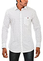 Indipulse Men's Casual Shirt (IF1160306A, White, XL)
