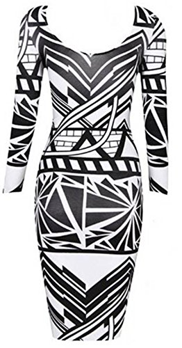 Lover-baby® Tribal Aztec Black White Tight-fitting Sexy Woman Bodycon Dress