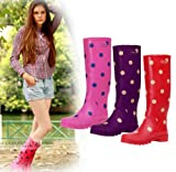 レインシューズ レインブーツ 雨靴 レディース 女性用 雨具 靴 ロング丈 ドット柄 水玉柄 hy403-yx04