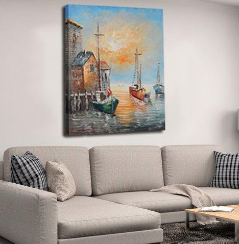 raybre art peinture l 39 huile peinte la main sur les couteaux en toile bateaux peintures port. Black Bedroom Furniture Sets. Home Design Ideas