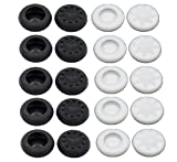 Yueton Pack of 20 Black and White Silicone Analog Controller Replacement Parts Thumb Grip Cap Cover for PS3 PS4 Xbox 360 Xbox One