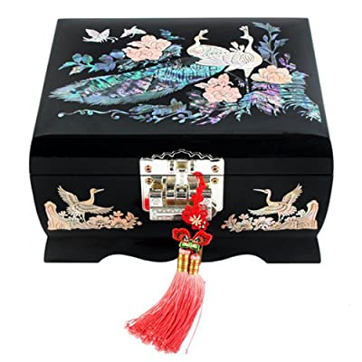 Mother of Pearl Peacock Design Music Wooden Black Bird Girls Jewelry Mirror Case Trinket Keepsake Treasure Gift Musical Asian Lacquer Box Case Chest Organizer by Antique Alive