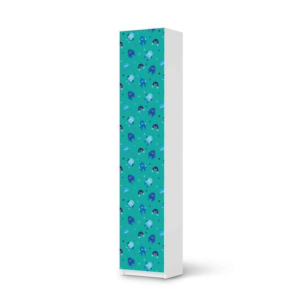 Möbel-Folie IKEA Pax Schrank 236 cm Höhe – 1 Tür / Design Schutz Robots – Blau / blasenfrei aufkleben günstig