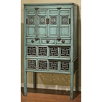 China Furniture Online Kitchen Cabinet, Antique Window Style Cabinet Distressed Blue Finish