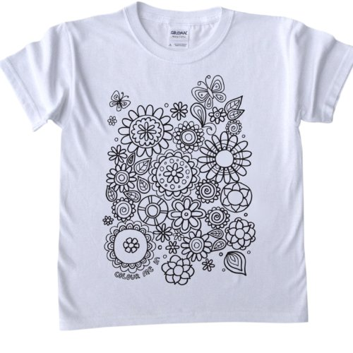 Flower Design T-Shirt for colouring in.