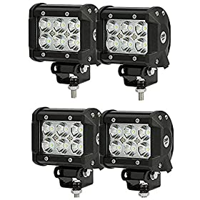 "SHANREN 4Pcs 4"" 18W CREE LED Work Light bar Flood beam 60 degree waterproof for Off-road Truck Car ATV SUV Jeep Boat 4WD ATV Auxiliary Driving Lamp(Park of 4)"