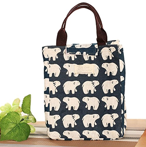 SOOKOO Portable Canvas Lunch Bag Tote Insulated Cooler Carry Bag (Polar Bear)