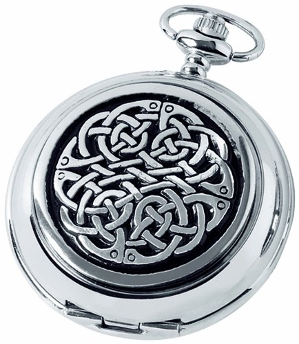 Woodford Skeleton Pocket Watch, 1873/Sk, Men's Chrome-Finished Never Ending Knot Pattern with Chain (Suitable for Engraving)