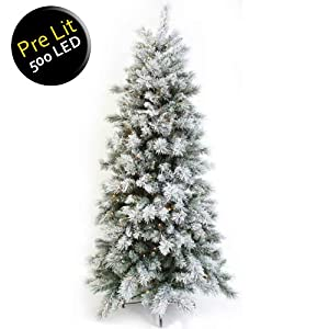 7ft (2.1m) Slim Flocked Spruce Pre-Lit Christmas Tree with ...