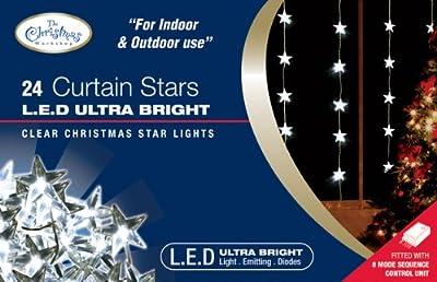 The Benross Christmas Workshop 24 LED Star Curtain Lights, White from Benross Group