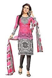 Nikki Fab Pink Crape Printed Dress Materials
