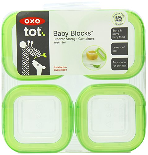 Oxo Tot Baby Blocks Freezer Storage Containers, Green, 4-Ounces