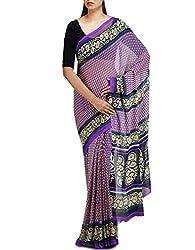 Unnati Silks Women Violet Chiffon Printed Saree