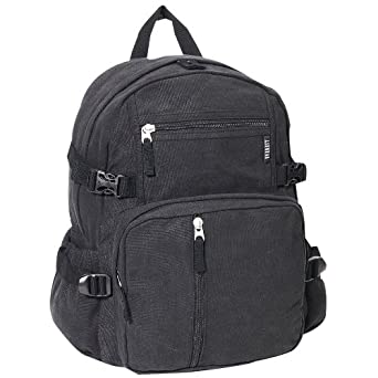 Everest Luggage Canvas Backpack Black, Black, One Size