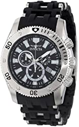 """Invicta Men's 0138 """"Sea Spider Collection"""" Stainless Steel and Black Polyurethane Watch"""
