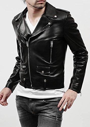 (サンローランパリ) SAINT LAURENT PARIS ライダースジャケット 48サイズ LEATHER ブラック [並行輸入品]