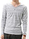 (アーケード) ARCADE Vネック カットソー Tシャツ メンズ ロンT 長袖 杢調ボーダー ロングTシャツ M グレー