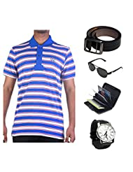 Garushi Blue T-Shirt With Watch Belt Sunglasses Cardholder - B00YMLMIP8