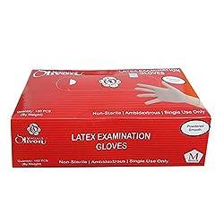Latex Examination Gloves by Seagulls Olivon 100's Size Medium 240mm x 94mm PREMIUM QUALITY