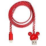 MFi 取得品 ディズニー Lightningケーブル ライトニングケーブル USB 1m ミッキー アイコン ドット / レッド