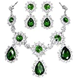 EVER FAITH Silver-Tone Teardrop Sunflower Emerald Color May birthstone Necklace Earring Set