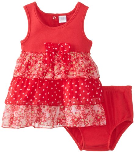 Cutie Pie Baby Girls Infant Dress With Bloomer Printed Chiffon, Red, 12 Months