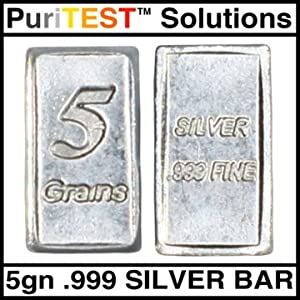 Gold and Silver Test Kit + Platinum Jewelry Testing Solution + Pro Touch Tester Stone + 5gram .999 Gold Clad Sample + 5grain Solid Silver Bullion Bar (Color: Black)