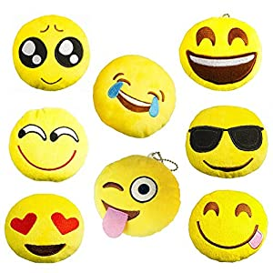 Kumeed 4 Inch Mini Emoji Face Expression Plush Key chains Bag Accessory Pack of 8 -Style 3