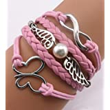 ACUNION™ Handmade Infinity Angel Wings Butterfly Charm Friendship Gift Leather Bracelet