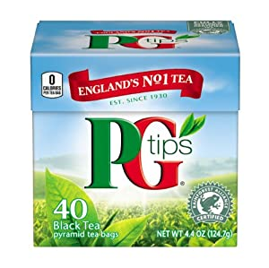 PG Tips Black Tea, Pyramid Tea Bags, 40 Count Box