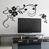 Flowers Removable Wall Stickers Wall Decals Art Black Room Decals Decorations Stickers