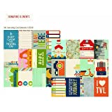 Simple Stories Urban Traveler 3x4 Journal Card Element 1 12x12 Paper