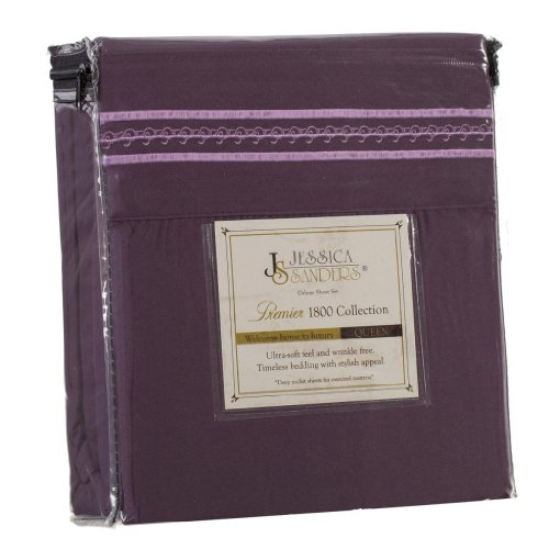 Jessica Sanders Premier 1800 Series 4Pc Bed Sheet Set - Queen, Purple Eggplant, - Jessica Sanders Embroidery front-752672