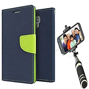 Aart Fancy Diary Card Wallet Flip Case Back Cover For Samsung ON5 - (Blue) + Mini Aux Wired Fashionable Selfie Stick Compatible for all Mobiles Phones By Aart Store
