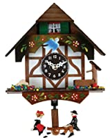 River City Clocks Quartz Novelty Clock - German Chalet with Bird & Well - 6 Inches Tall - Model # 2070Q-06 by River City Clocks