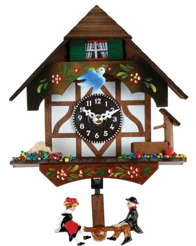 River city clocks quartz novelty clock german chalet with bird well 6 inches tall model - Cuckoo bird clock sound ...