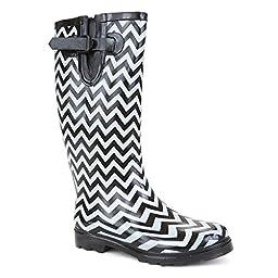 Twisted Women\'s DRIZZY Tall Rubber Chevron Print Rain Boot- WHITE/BLACK, Size 7