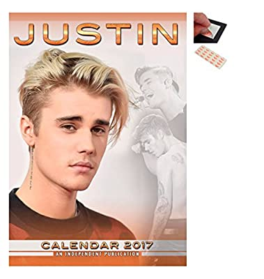 Bundle - 2 Items - Justin Bieber 2017 Wall Calendar - Closed Size : 42 x 29.5 cm (16.5 x 11.5 Inches) and a Set of 4 Repositionable Adhesive Pads