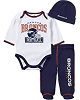 NFL Denver Broncos Baby Boy Bodysuit, Footed Pant & Cap