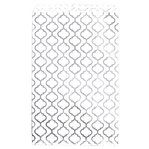 200 pcs Shimmering Silver Trellis Pattern Paper Merchandise Gift Bags Shopping Sales Tote Bags 6