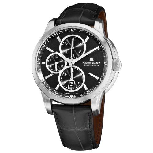Maurice Lacroix Men's PT6188-SS001330 Pontos Pontos Chronograph Black Strap Watch