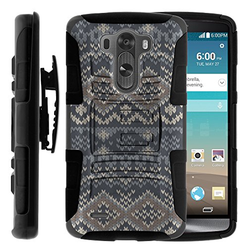 Click to buy LG G3 Case, LG G3 Holster, Two Layer Hybrid Armor Hard Cover with Built in Kickstand for LG G3 D850, VS985, D851, LS990, US990 (AT&T, T Mobile, Verizon, Sprint, US Cellular) from MINITURTLE | Includes Screen Protector - Native Sweater Pattern - From only $1799