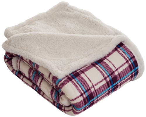 Bedford Home Throw Blanket, Fleece/Sherpa, Plaid front-1060316