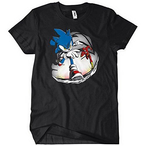 Sonic Vs Flash Mens Funny T-Shirt Tee Hedgehog Superhero Running Race (Adult Hedgehog)