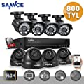 Sannce 8CH Full 960H CCTV DVR Recorder + 8HD 800TVL Bullet/Dome Security Cameras & 1TB HDD Included (Day/Night Vision, IP66 Weatherproof, Motion Detection)